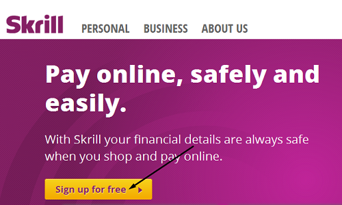 إنشاء حساب جديد على skrill.com